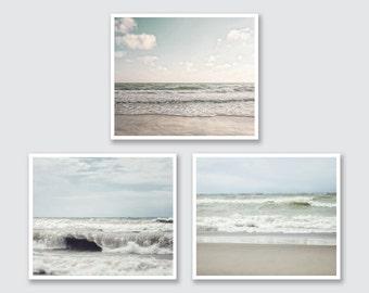 Beach Prints or Canvas Set, 3 Beach Landscape Prints, Soft Blue Pale Blue Tan, Canvas Art Wrap or Prints, Ocean Prints, Set of 3.
