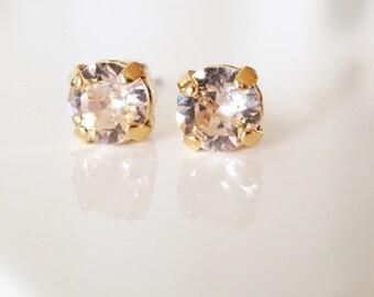 Beauty gift,Blush Stud Earrings,Silk ear studs,Swarovski Stud Earrings,Blush Pink,Minimalist,Peach stud earrings,Bridal Crystal Studs 6mm