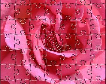 Pink Rose Zen Puzzle - Hand crafted, eco-friendly, American made artisanal wooden jigsaw puzzle