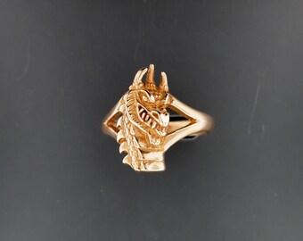 Dragon Head Ring in Antique Bronze