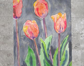 Orange Tulips Scarf - Watercolor Painting - Accessory Clothing