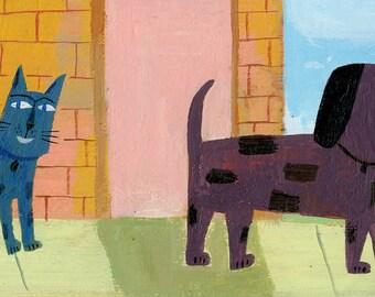 Cat & Dog on Sidewalk