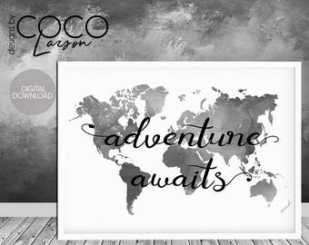 World Map Print World Map Poster Black And White Large - Map of the world poster black and white