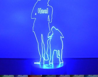 Dog Training Heel Colour Changing LED Acrylic Light