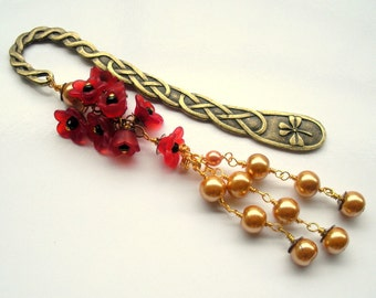 Flower Bookmark, Beaded Bookmark, Metal Bookmark, Pearl Bookmark, Red Flower, Red and Gold