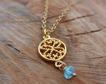 Gold Filigree Disc Pendant with Apatite Button