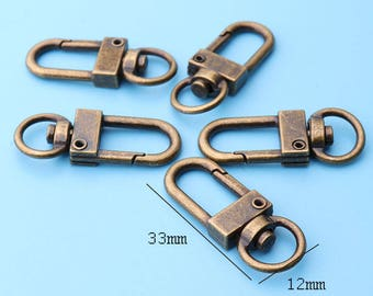 10pcs clasp  3/8Wide Trigger Snap Hook Lobster Swivel Clasps Antique Bronze clasp Push gate swivel clasp swivel Hook for purse-33*12mm lx29