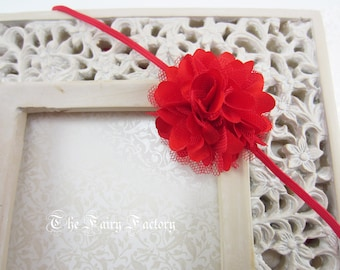 Red Flower Headband, Mini Red Satin & Tulle Flower Puff Headband or Red Hair Clip, Christmas Headband, Newborn Baby Child Girls Headband