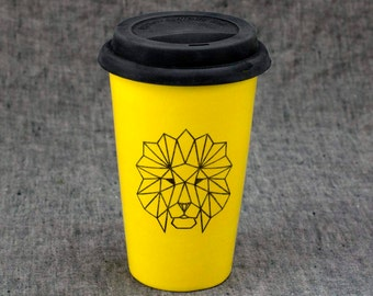 16oz Hand Painted Travel Mug with Faceted Lion