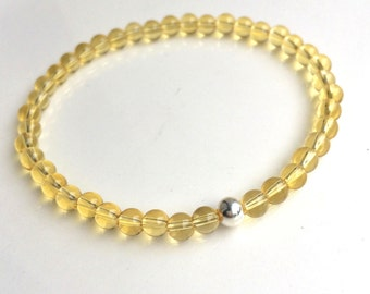 CITRINE stretch bead Bracelet Sterling Silver or Gold Fill