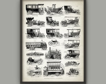 Vintage Vehicles Art Poster - Classic Automobiles Print - Antique French Book Plate Vehicle Illustration - Antique Classic Road Vehicles