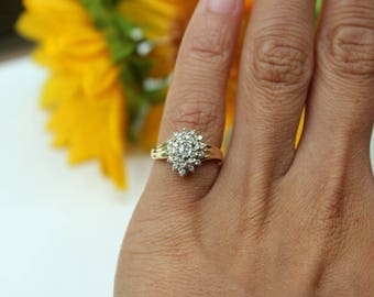 Vintage Cluster Ring, Gold diamonds, Pear shaped diamond ring,