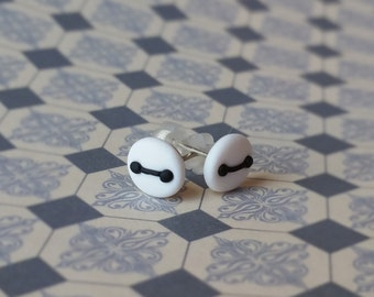 Polymer Clay Baymax Stud Earrings, Hypoallergenic Posts