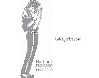 Michael Jackson Modern cross stitch pattern figure stand up profile tribute - PDF Instant download.