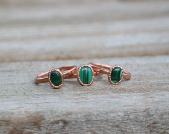Malachite Ring // Electroformed Copper Jewelry