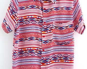 O'Carioca Diamonds Short Sleeve Button Up Shirt with a relaxed fit.