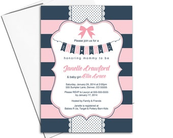 navy and pink baby shower invitations girls nautical stripes, bow, polkadots, DIY printable or printed - WLP00785