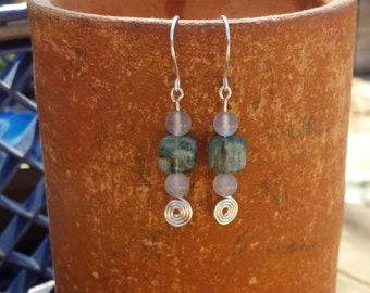 WIRE WRAPPED EARRINGS Kyanite and Chalcedony in Silver Handmade
