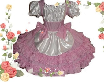 Gingham and Satin Sissy Dress Swiss Miss Maid Litle Bo Peep Dress Custom Size  including Plus Size Womens Adults Crossdresser