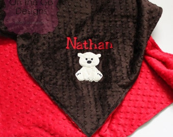 Polar Bear Minky Personalized Baby Blanket, Choose your own colors