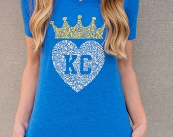 Kansas City Took the Crown Floral Women's Tee in Royal Blue