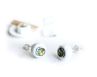 California Roll Sushi Earring Studs Japanese Food Jewelry Cute Tiny Studs Sushi Lover Gifts Nickel Free Earrings