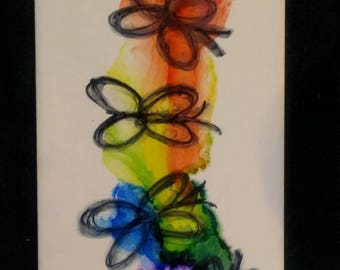 """Hand Painted Ceramic Tile 4"""" by 8"""""""