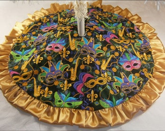 "Mardi Gras Tabletop Tree Skirt - 24"" - Mardi Gras Gold Ruffle"