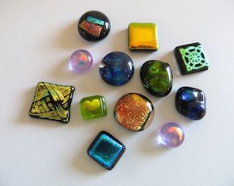 Dichroic Glass Cabochons-Twelve Glass Cabochons