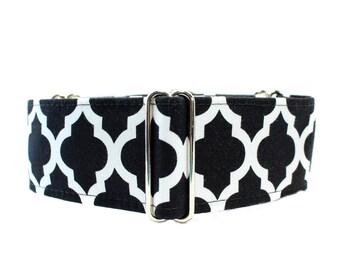 Black Martingale Collar, 2 Inch Martingale Collar, Quatrefoil, Black and White Dog Collar, Greyhound Collar, Nosework, Black Dog Collar