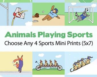Sports Nursery Art - Football, Soccer, Basketball, Baseball, Tennis (4 Kids Wall Art Prints)