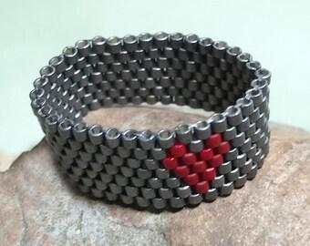 Peyote Ring Seed Beaded Ring Valentine Bead Ring Beadwork Ring Beaded Band Ring Grey Beaded Ring Bead Stitched Ring Grey Beadwoven Ring