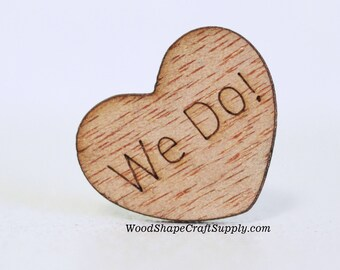 100 We Do! Wood Hearts - 1 Inch Table Confetti - Wedding Decorations - Wooden Heart Shapes With Words