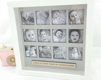Personalised First Year Photo Frame, Box Frame, First Birthday Gift