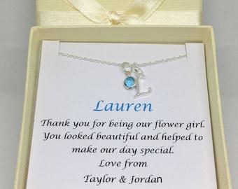 Flower girl gift, flower girl necklace, personalised flower girl gift, bridesmaid gift, flower girl jewlery, wedding jewellery