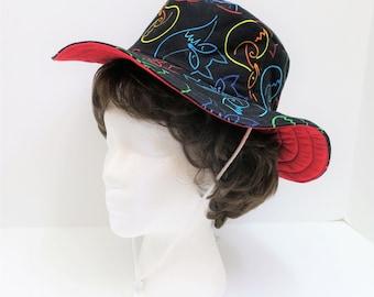 Black Red Designer Hat, Women Garden Hat, Summer Hat, Bucket Hat, Beach Cotton Hat, Hat for Women, Floppy Hat, Sun Hat, Wide Brim Hat