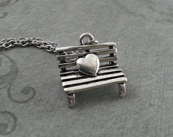 Heart Bench Necklace Valentine's Jewelry Park Bench Pendant Necklace Bus Stop Necklace Couples Necklace Valentine's Necklace Wedding Gift