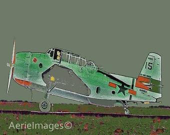 Airplane Nursery, Gray Green Orange WWII plane, Kids Room