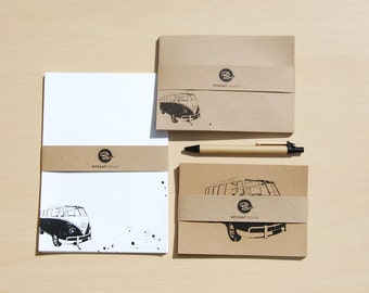 Boxed Letter Writing Set with Cards and Envelopes – Stationery Gift Set, Volkswagen Van