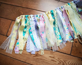 SPRING EASTER Rag Tie Banner,Photo Prop,Easter Decoration,Spring Colors,Shabby Chic Decor,Rag Tassel Garland,Easter,Eggs,Lace,Bunnies,Pink