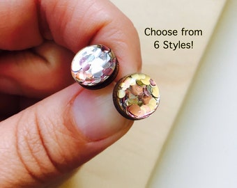 Rose Shimmer Glitter Resin / Wood Stud Earrings • Various Sizes • Surgical Steel • Hypoallergenic • Glossy • Rose Gold • Gold • Silver •