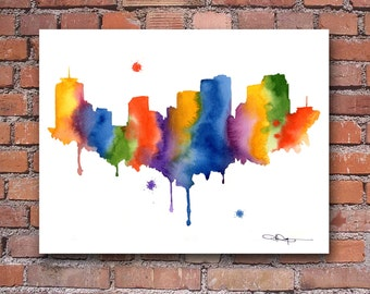 New Orleans Skyline - Abstract Watercolor Art Print - Wall Decor