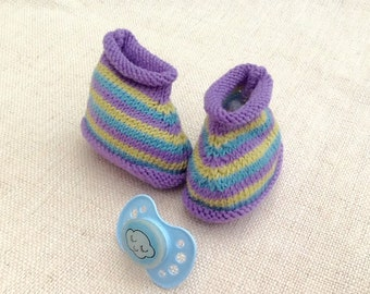 0/1 month baby booties knit