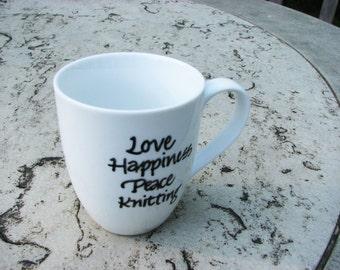 Knitting Love - Mug with Calligraphy