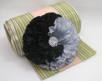 Silver and Black Millinery Flower Applique Yin Yang