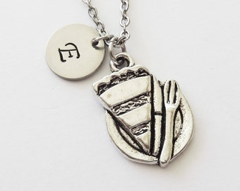 Pie Necklace, Slice of Pie, Food Jewelry, Cook Gift, Baker Gift, Birthday Gift, Silver Initial, Personalized, Monogram, Hand Stamped Letter