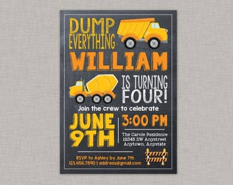 Construction Invitation, Dump Truck Invitation, Construction Birthday Invitation