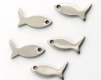 Fisch Anhänger 10 Stück. Silber Ton Edelstahl Stahl 12x6mm