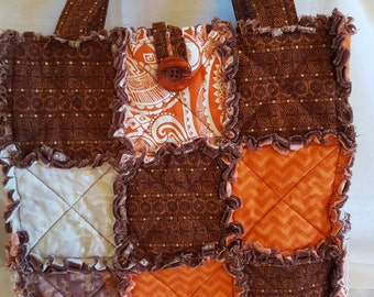 Quilted Rag Purse, quilted tote, fabric purse,  fabric bag