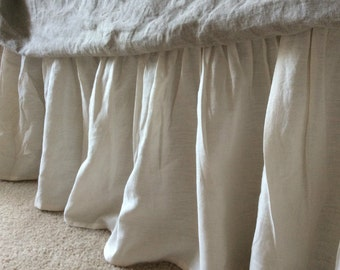 CREAM linen bedskirt, bed ruffles, cream linen dust ruffles, bed skirts, shabby chic bedding, Romantic country, cottage chic bedding
